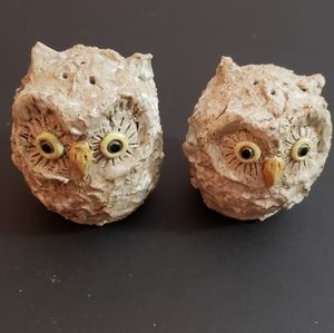 Rustic Pottery Owl Salt and Perry Shaker Set